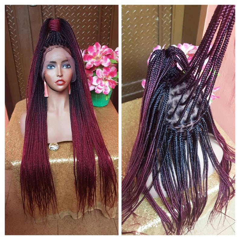 Full Lace Braided Wig, BR-0001-L Braids Wig Lace Wig Black Burgundy Ombre Braided wig 24