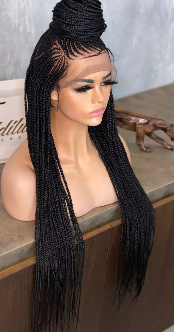 Braided wig, braided wig with synthetic hair, BR-00052-L - yalinat