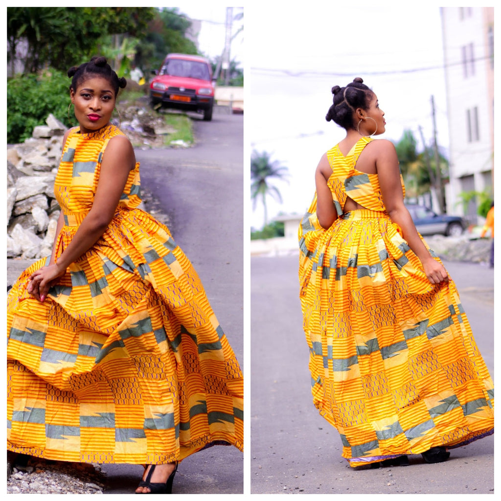 african Tonta print maxi dress, african clothing, african maxi dress, ankara maxi dress. - yalinat