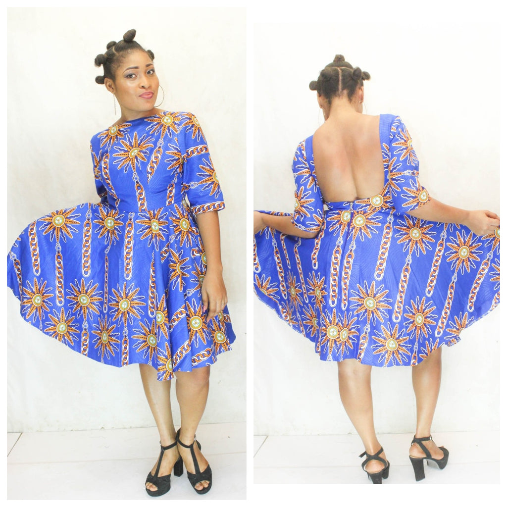 african print ANGELE midi dress, african clothing, african midi dress, ankara midi dress, african fashion. - yalinat