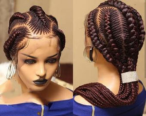 Full Lace Stitch braided wig handmade on full lace Human Hair, BR-00037-L - yalinat