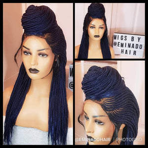 Braided Wig, Cornrow.Braidwig, Braidswig 26/28inches, Ket cornrow. Blue. 13x6 frontal , BR-00048-L - yalinat