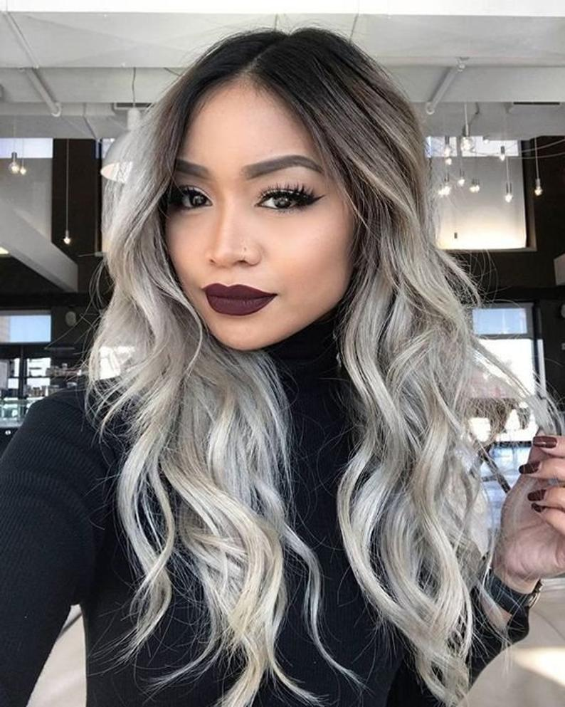 Luxury Wig/Silver Ombre Wig/130% Density/Full lace Wig, WIG-0003-H - yalinat