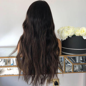 100% REAL HUMAN HAIR Full lace Wig Darkest Brown root with caramel , WIG-00010-H - yalinat