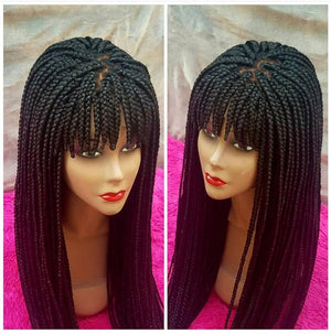 Braided wig with beads/ box braids / with closure/ 22 inches, BR-0002-L - yalinat