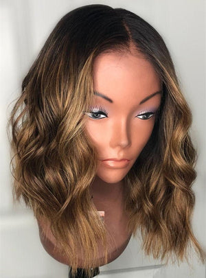 Luxury Wig/Balayage Wig/Full lace Wig/Golden brown Wigs, WIG-0006-H - yalinat