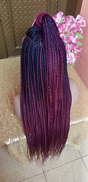 "Full Lace Braided Wig, BR-0001-L Braids Wig Lace Wig Black Burgundy Ombre Braided wig 24"" - yalinat"
