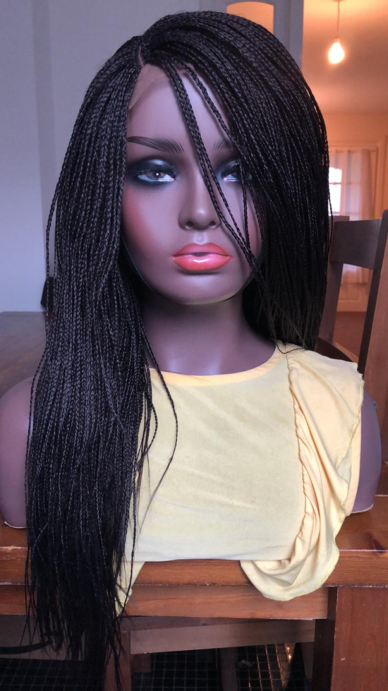 Micro Braids Off Black Box closure Braids Braided Wig  Hand made Lace Side Part Braided wig