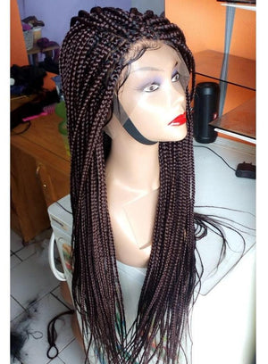 Braided wig/ Full Lace wig/ Braids brown, BR-0007-L - yalinat