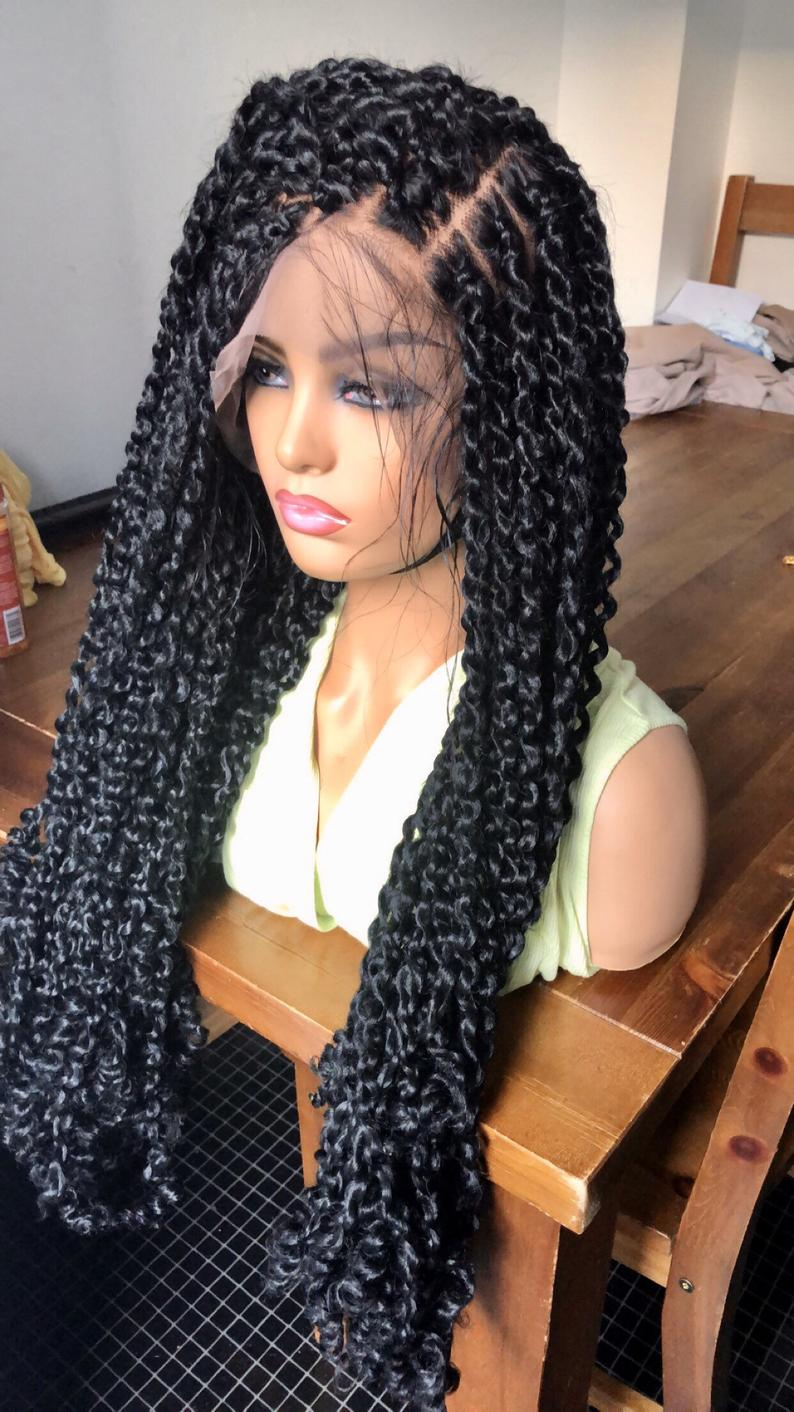 Passion Twists Braided Wig Full Lace Braids Wig Human Hair Black 24