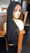 "Passion Twists Braided Wig Full Lace Braids Wig Human Hair Black 24"" , BR-00047-L - yalinat"