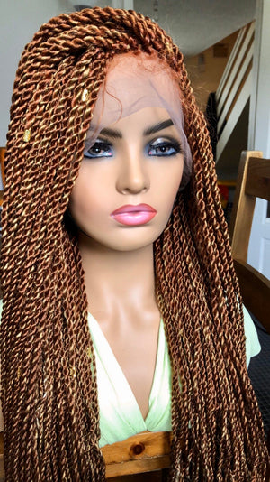 "Full Lace Braided Wig Blonde, BR-0003-L,  Mix Micro Twists Braids Wig 24"" - yalinat"
