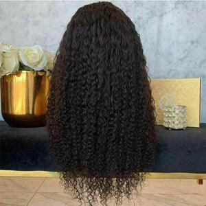 Luxury Kinky Curly Glueless Black 100% Human Hair Swiss Lace Front Wig Glueless Black #1B