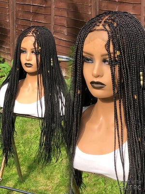 Closure Braided Wig Micro Knotless Braids | Pre-order handmade Braided Wig