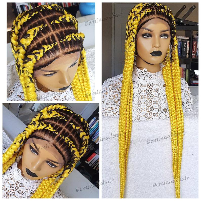 AYOLA Braided Wig unit | full lace handmade Cornrow Fulani Braided wig for black women |