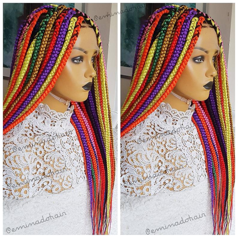 Handbraided wig Knotless braids | handmade colorful Box Braided Wig for women