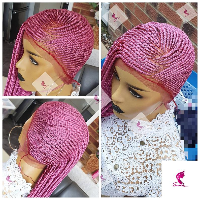 Alima Pink Lemonade braids made with 360 degree frontal | custom made |
