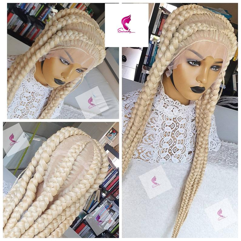 Princess handmade pre-order Platinum full lace blonde braided wig | african american wigs |