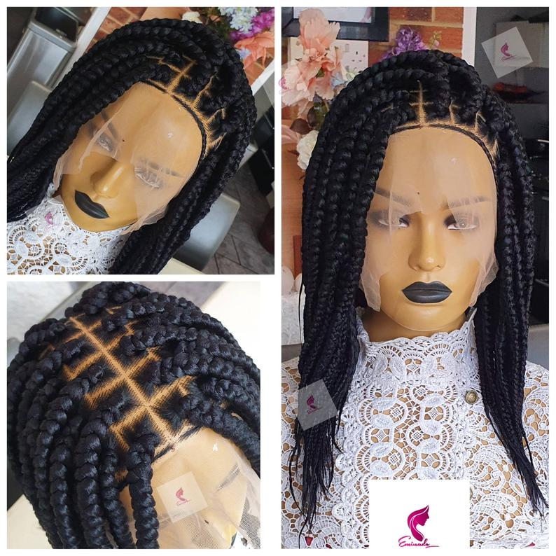 Larissa Braided Wig | handmade cornrow short braids wig for Black women