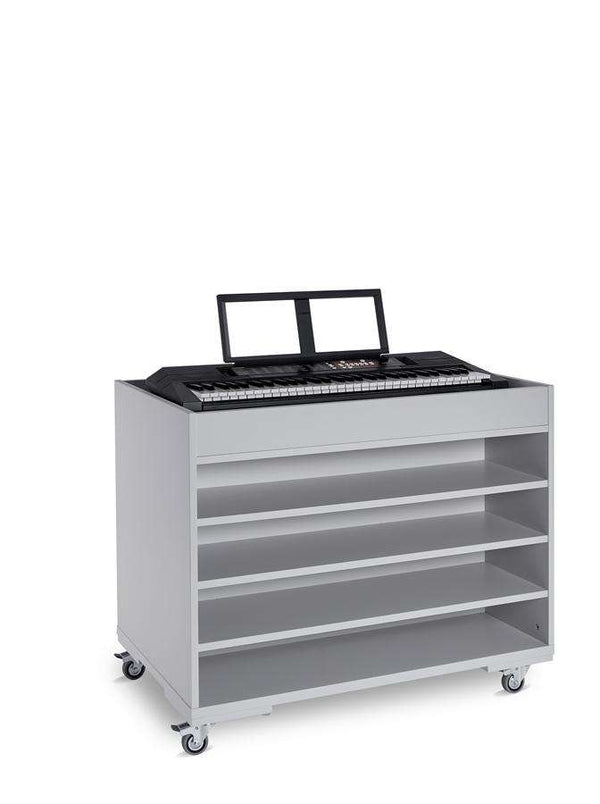 Double Sided Grey Keyboard Storage Trolley For 8 Keyboards