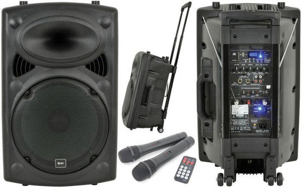 PA System - QTX QR12PA Portable PA System, 2 Radio Mics & MP3 Player