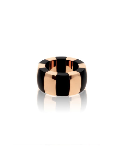 Rose Gold Overlay and Matte Black Ceramic Stretch Ring