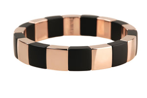 Rose Gold Overlay and Matte Black Ceramic Stretch Bracelet