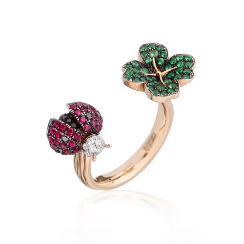 Lady Bug and Four Leaf Diamond Ring