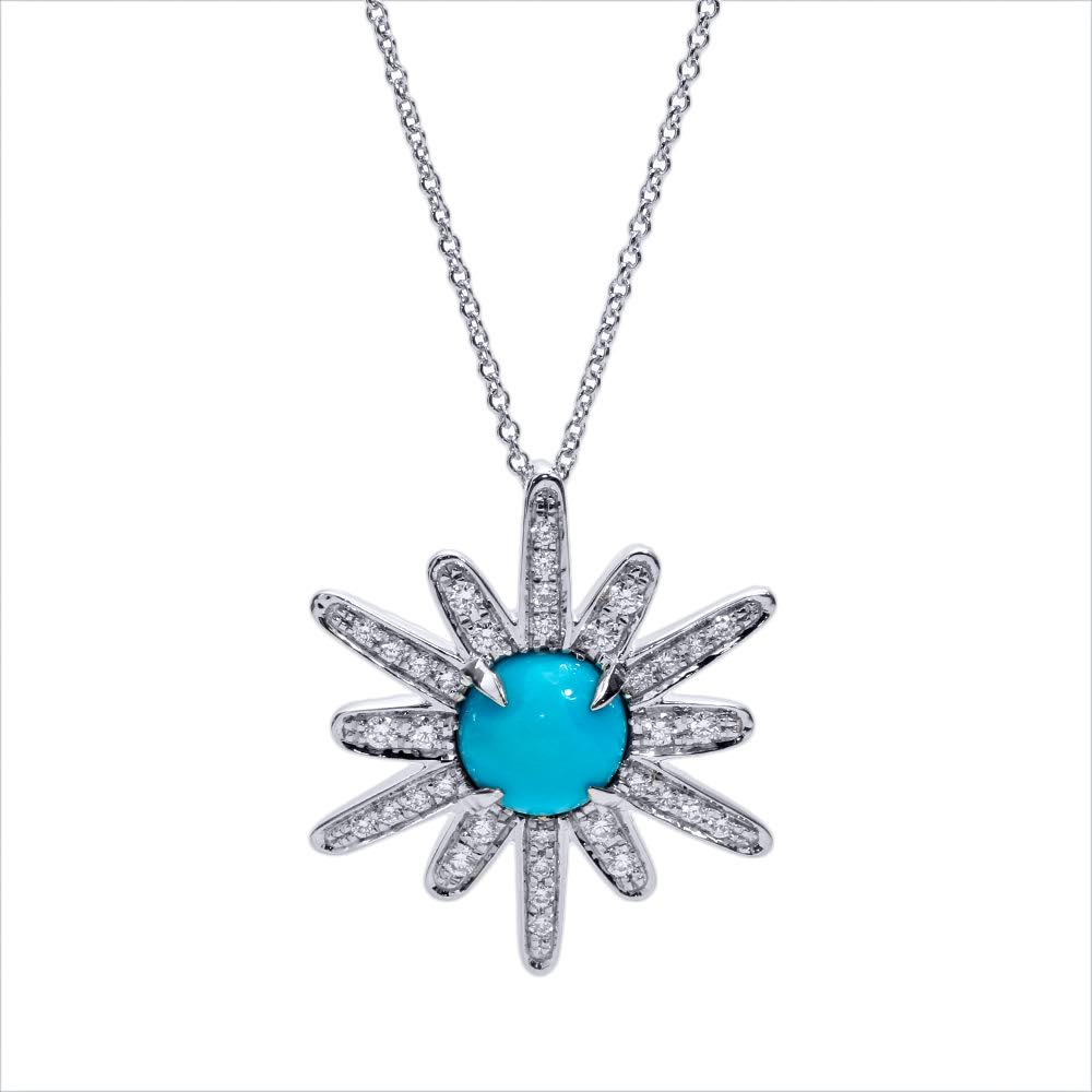 Turquoise Starburst White Gold Necklace