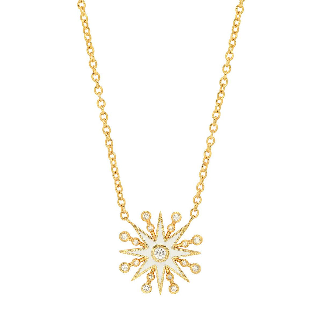 White Enamel Star Diamond Pendant