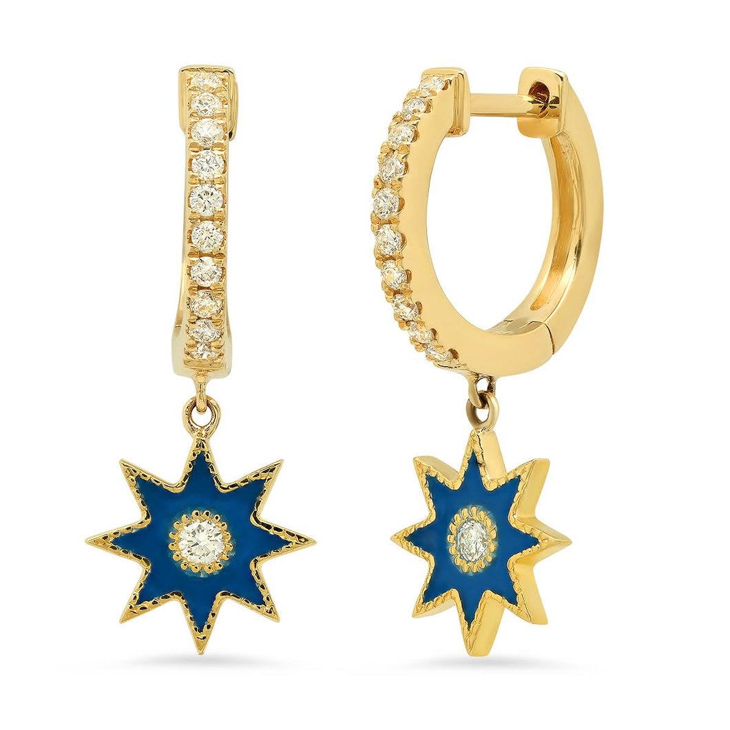 Blue Enamel Star Drop Diamond Huggies