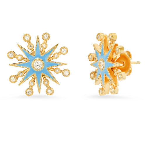Baby Blue Enamel Star Diamond Stud