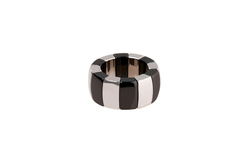 White Gold Overlay and Black Ceramic Stretch Ring