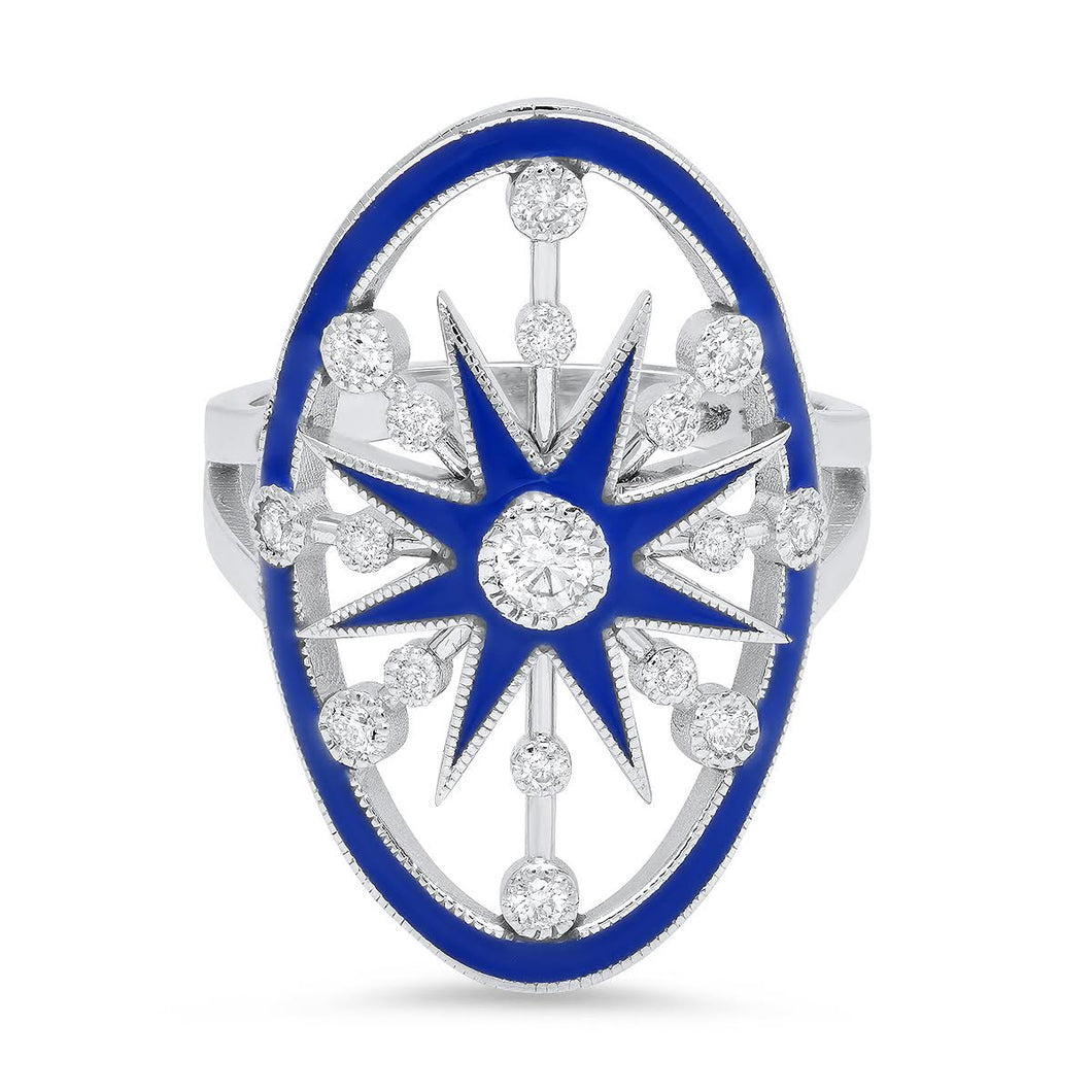 White Gold Blue Enamel Star Shield Ring