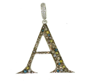 "Initial ""A"" Rainbow Diamond Charm"