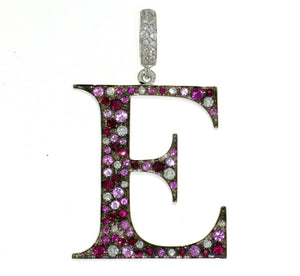 "Initial ""E"" Rainbow Diamond Charm"