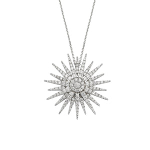 Starburst 18K White Gold Diamond Necklace