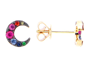 Gold Crescent Moon Rainbow Earring