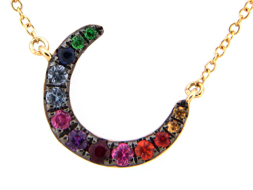 Gold Crescent Moon Rainbow Necklace