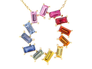 Rainbow Sapphire Baguette Pin Wheel Pendant Necklace