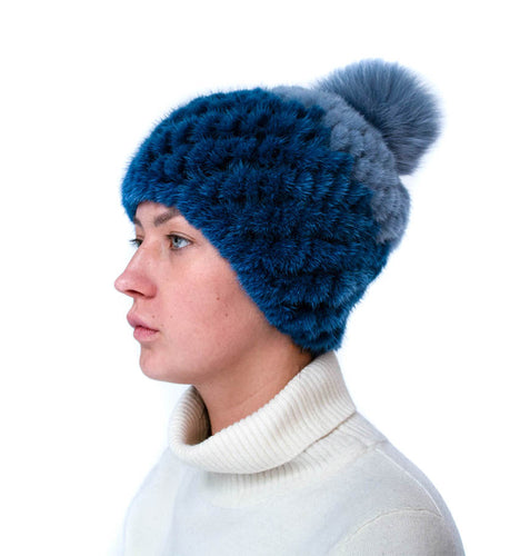 Two-Toned Knitted Mink/Fox Hat