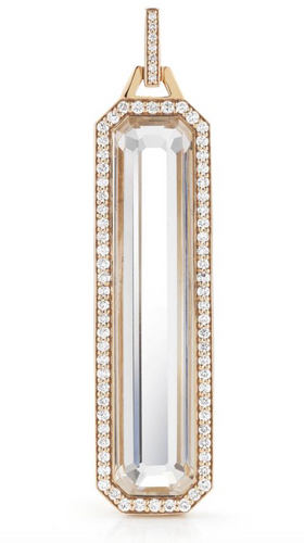 Bell Diamond Rock Crystal Bar Charm