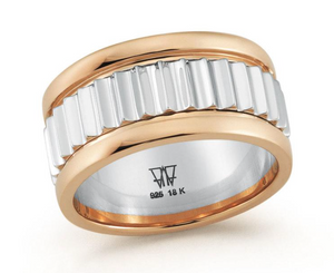 Clive Two Tone Fluted Band Ring