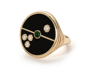 Compass Ring Black Onyx/Emerald
