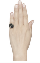 Load image into Gallery viewer, Compass Ring Black Onyx/Emerald