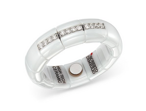 White Gold & White Ceramic Pura Stretch Ring with Diamonds