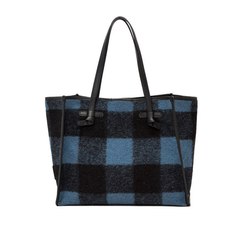 Gingham Leather Wool Bag