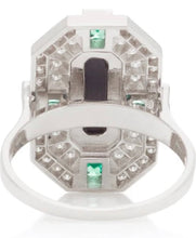 Load image into Gallery viewer, Deep Space Onyx and Tsavorite Ring