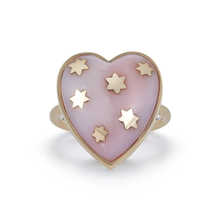 Gold Pink Opal Heart Ring