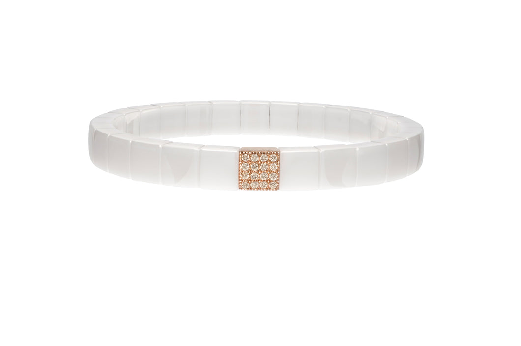 Scacco White Ceramic Rose Gold Bracelet